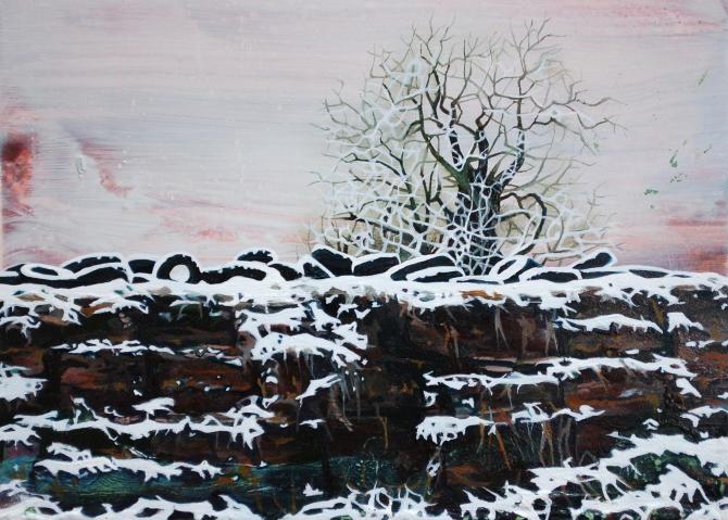 Ann Quinn- -The Silage Pit-- oil on board- 13 x 18 cm