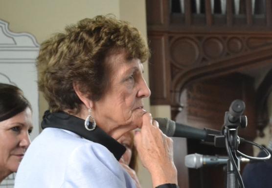 Philomena Lee talking at the Chapel, Borris