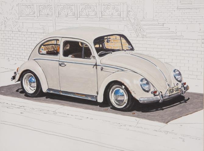 John-Doherty--Beetle-II--2014--acrylic---pencil-on-gesso-board--23.5-x-17.5-cm_670