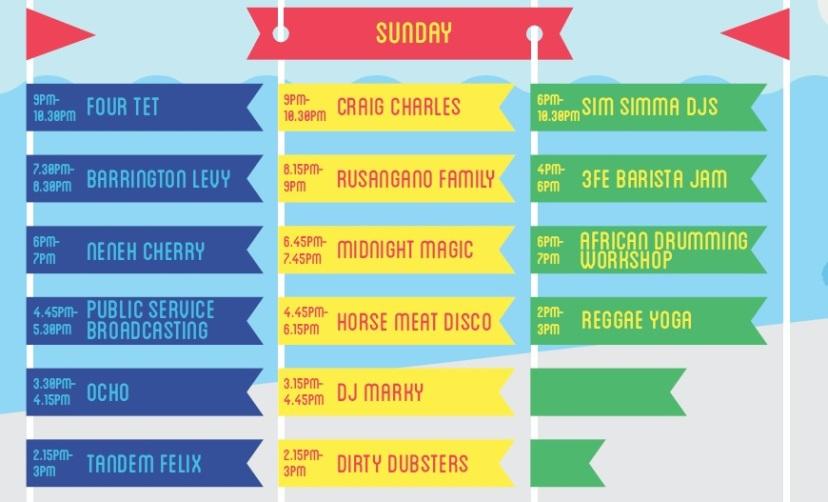 Beatyard - Sunday - Stage Times 2015