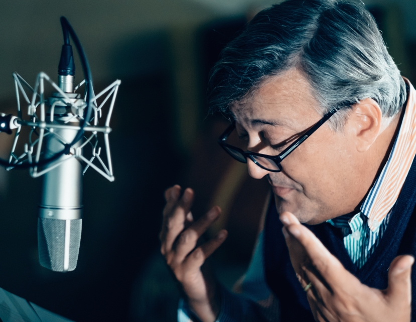 Stephen Fry records the Max Carrados collection at Audible Studios, London