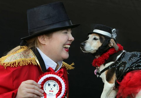 NO REPRO FEE 12/9/2015 Pictured is Vivien Woodlock from Clonee, Co. Meath and 'Missy', winner of'The Dog of Dublin 2015' canine costume competition at The Doggie Do, Ireland's first ever dog festival, which took place over the weekend in Dublin's Merrion Sq. The Doggie Do is a family-friendly festival for and about dogs, with talks, demos, grooming and a canine costume competition to crown the 'Dog Of Dublin 2015' and was hosted by Darren Kennedy. Photo: Mark Stedman/Photocall Ireland