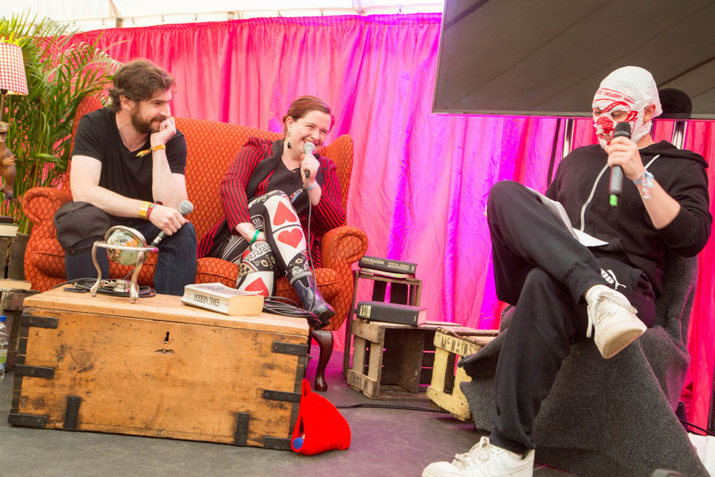 Laurence Mackin (Irish Times), Muireann de Barra & Blindboy Boatclub at the the Library of Prgress at Body&Soul Festival, Ballinlough Castle, Co. Westmeath. Limited weekend and Sunday tickets are still available online at bodyandsoul.ie Photo: Allen Kiely